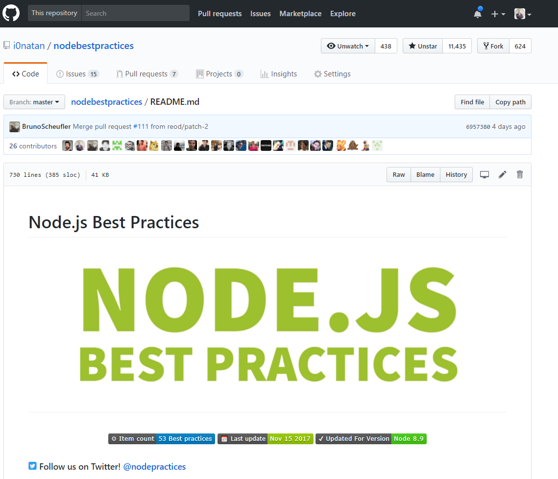 My new GitHub project: Node JS best practices – Yoni Goldberg